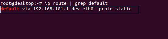 Linux Terminal - Network Default Gateway