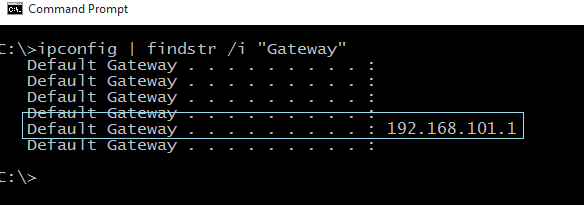 Windows CMD - Network Default Gateway