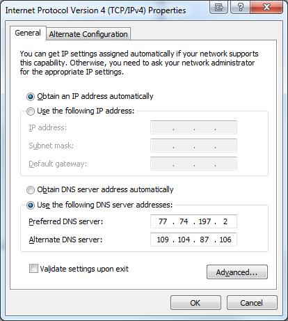 Windows 7 DNS addresses