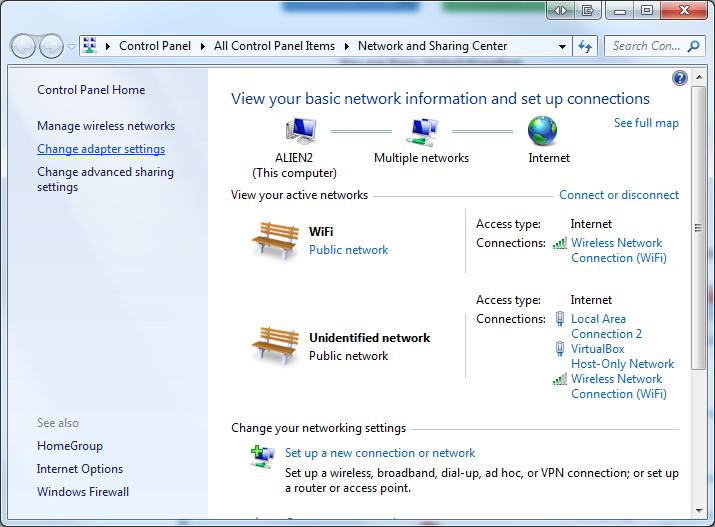 Windows 7 network sharing center