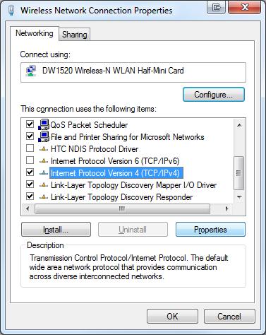Windows 7 select IPv4 network settings