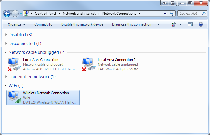 Windows 7 select network connection