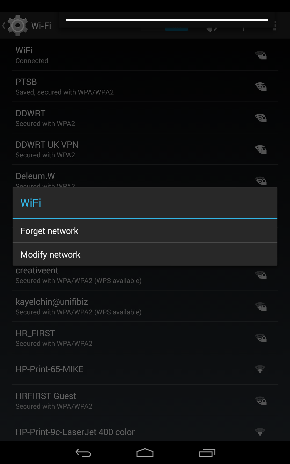 Android modify wifi settings