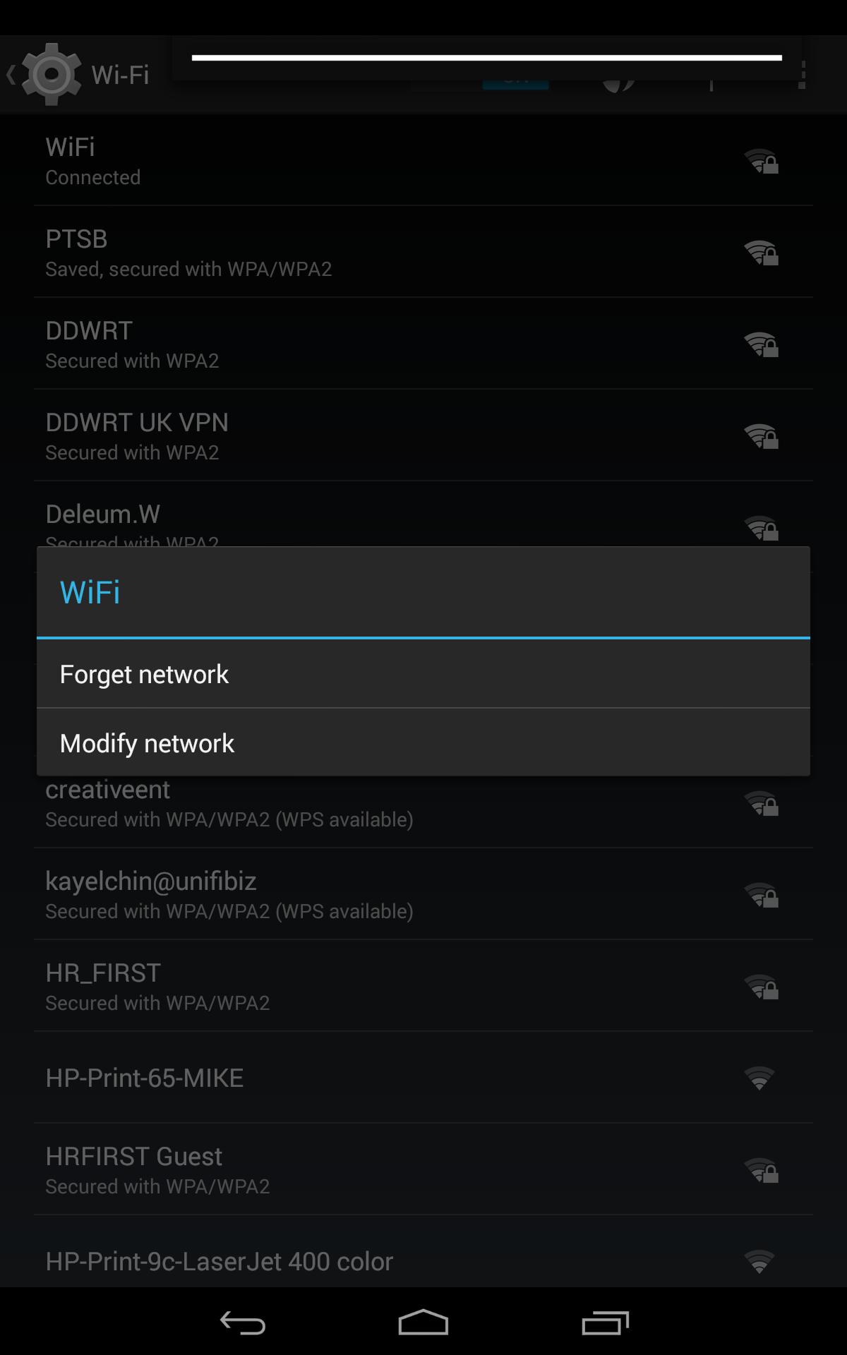 Android modify wifi settings