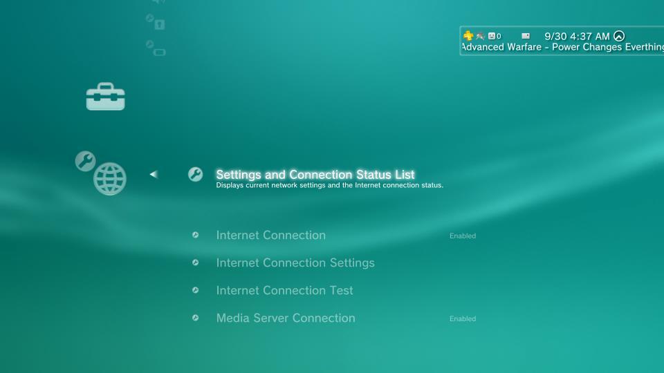 ps3 settings menu