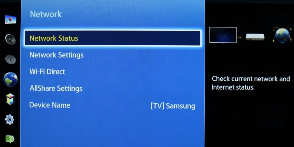 samsung smart tv network status
