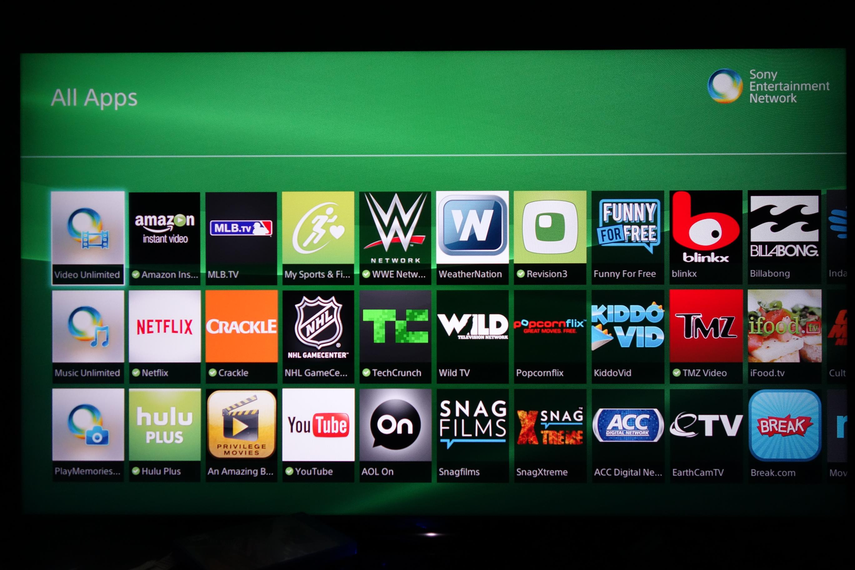 Sony Bravia All apps