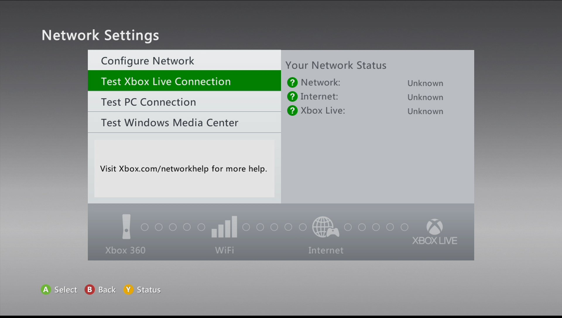 xbox 360 test LIVE network connection