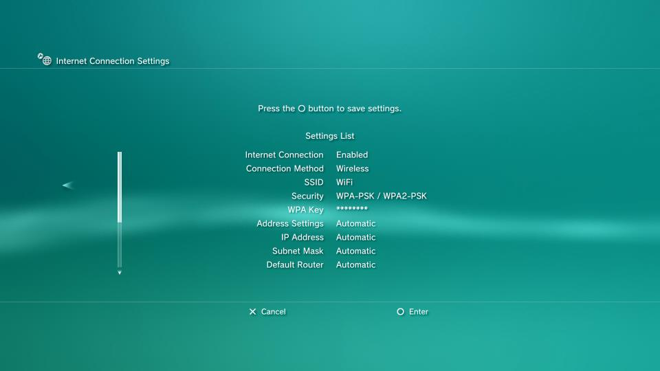 ps3 save network settings