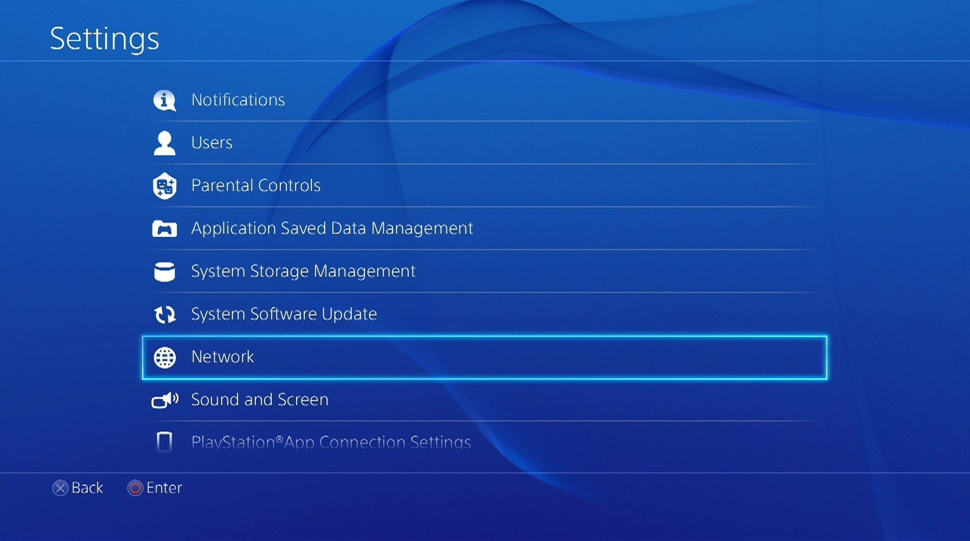 ps4 network settings menu