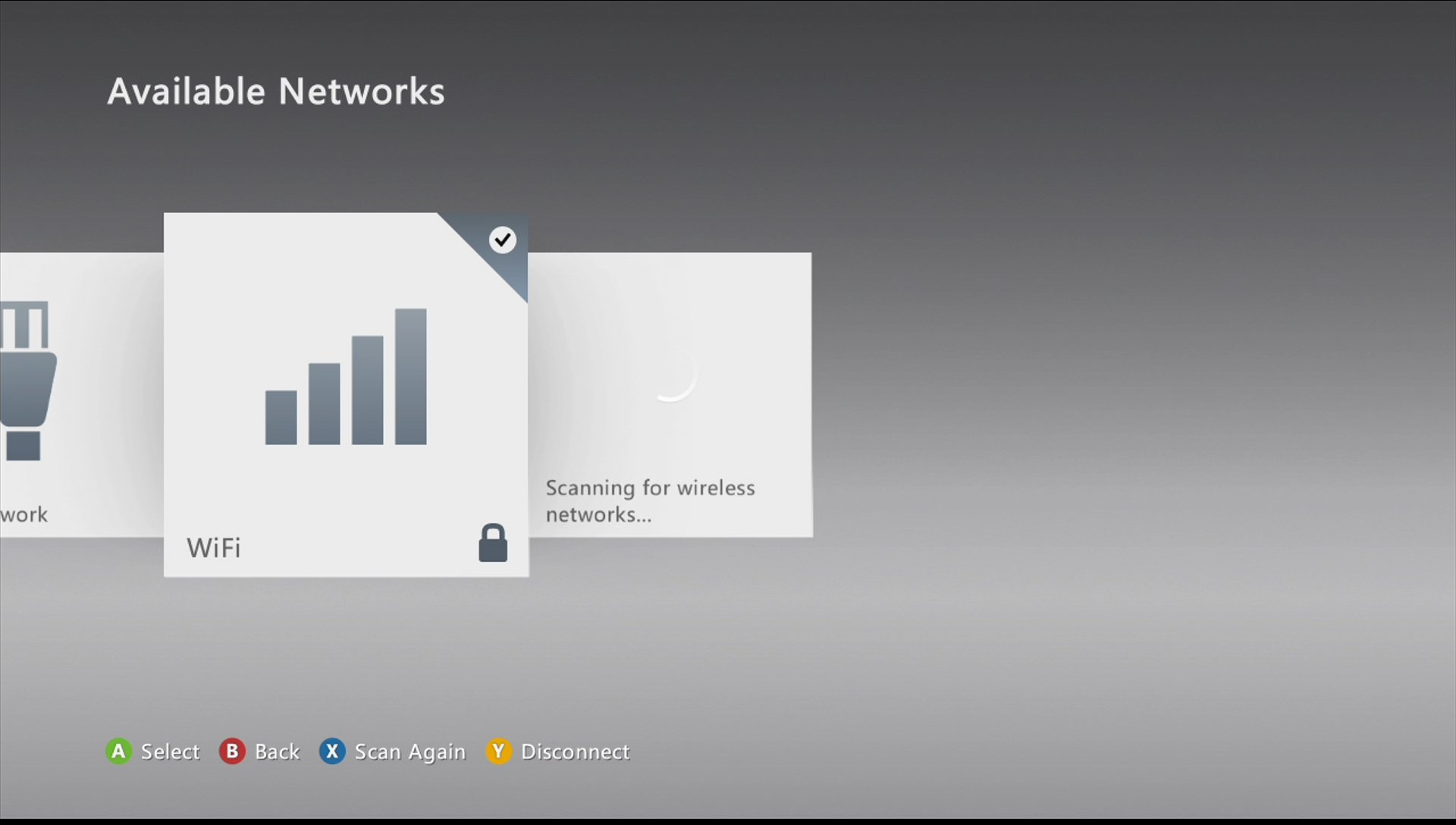 xbox 360 select network connection, wifi