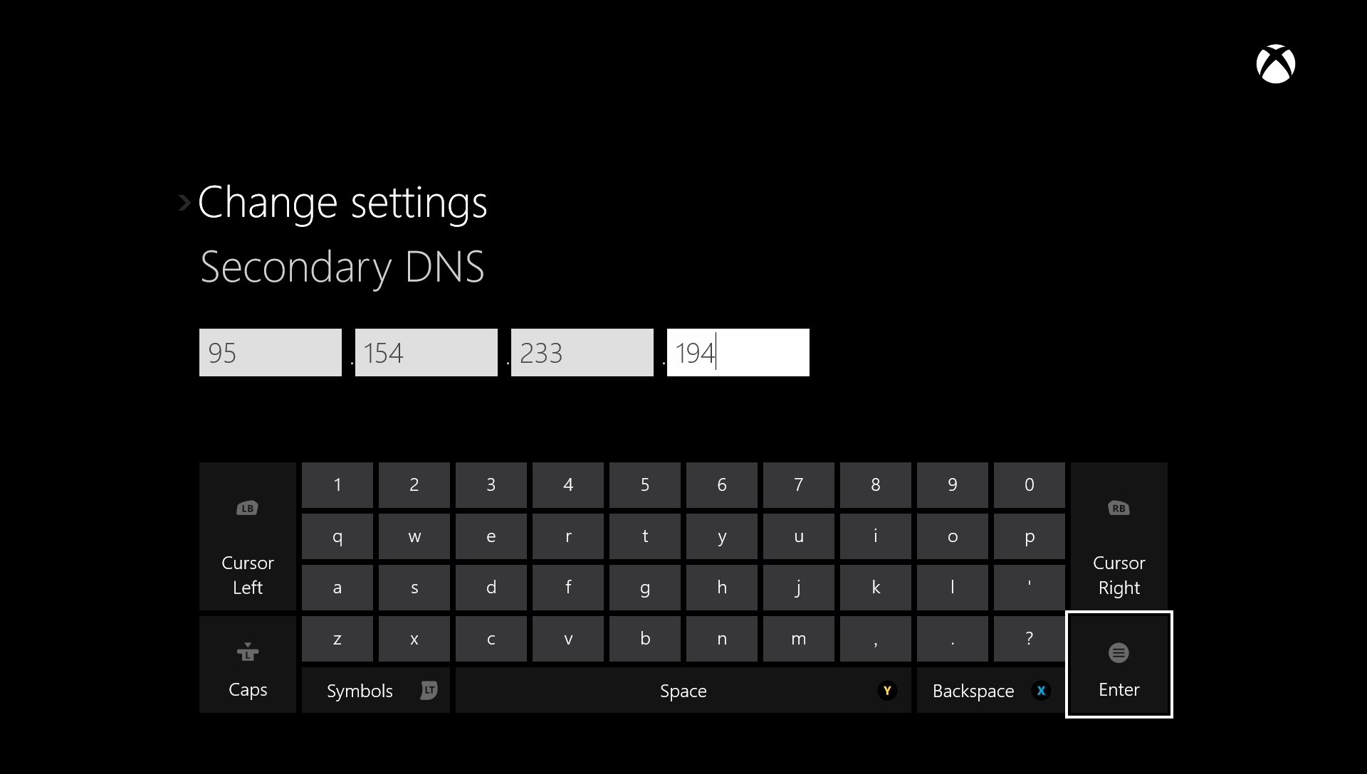 Microsoft Xbox One Secondary DNS Settings