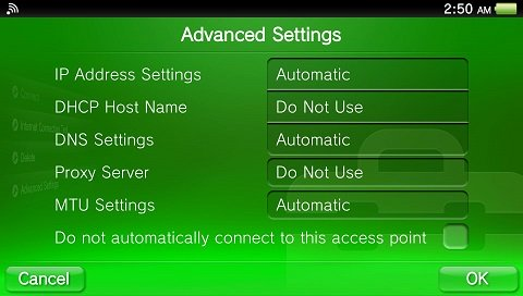 PS Vita advanced wifi settings