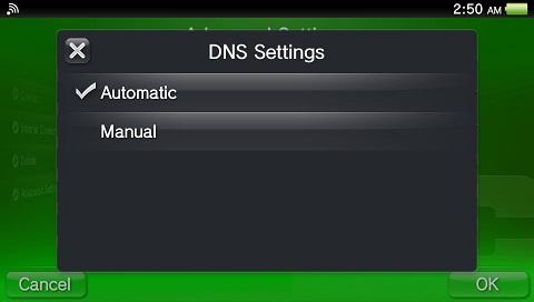 PS Vita DNS automatic
