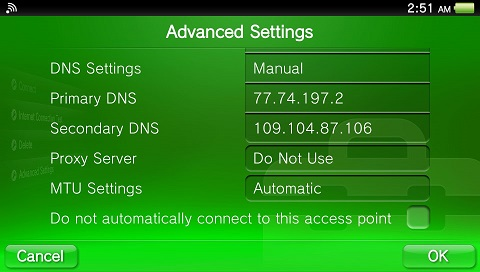 PS Vita DNS set