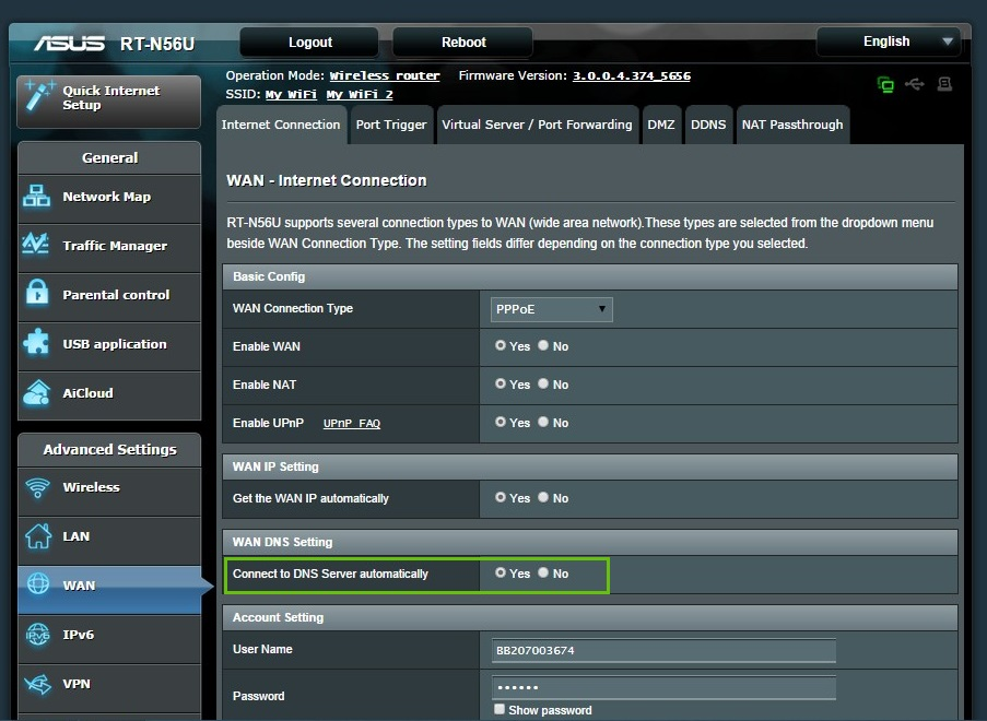 asus router advanced wan settings