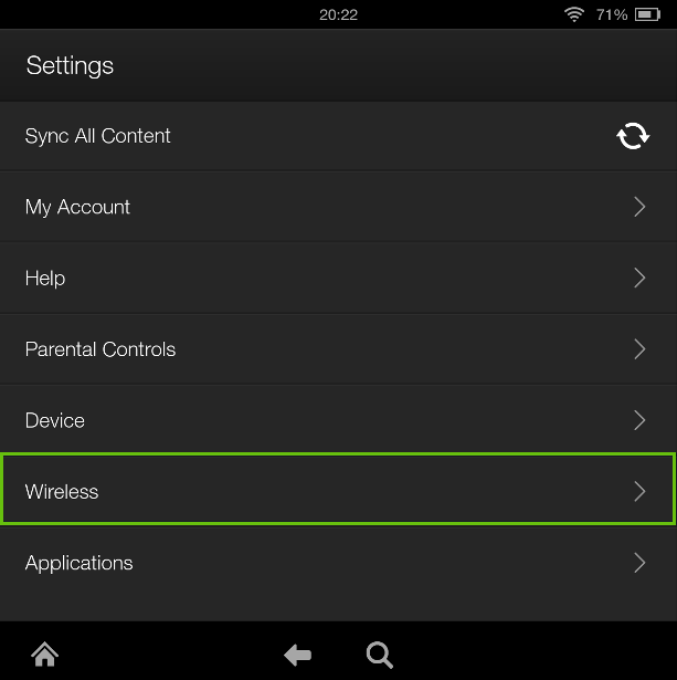 Kindle Fire Settings menu