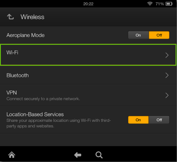 kindle fire wireless settings