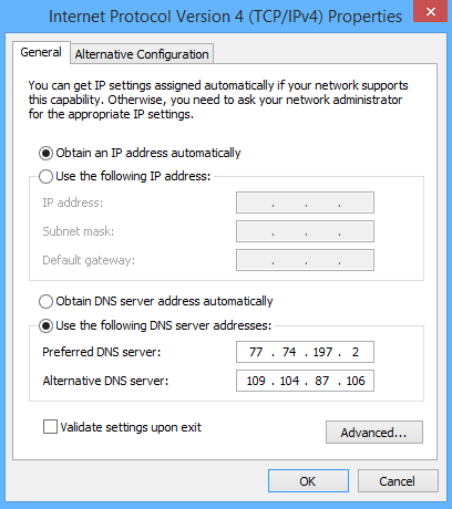 windows 8 general network settings