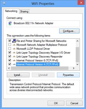 windows 8 network properties