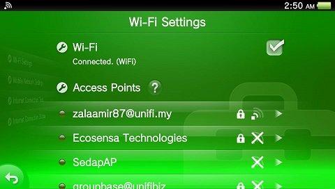 PS Vita wifi settings