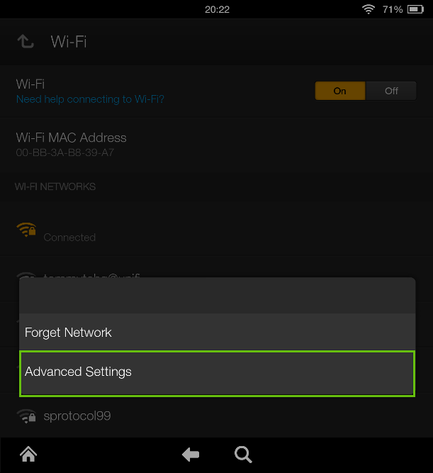 kindle fire advanced wireless settings