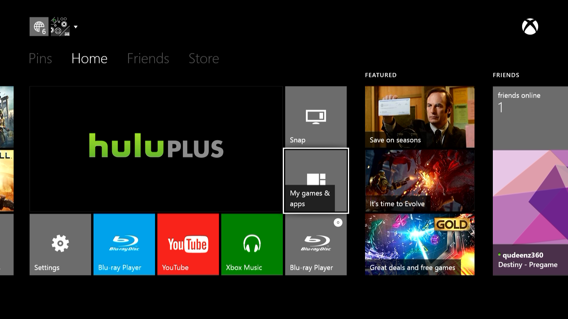 Xbox one Home screen