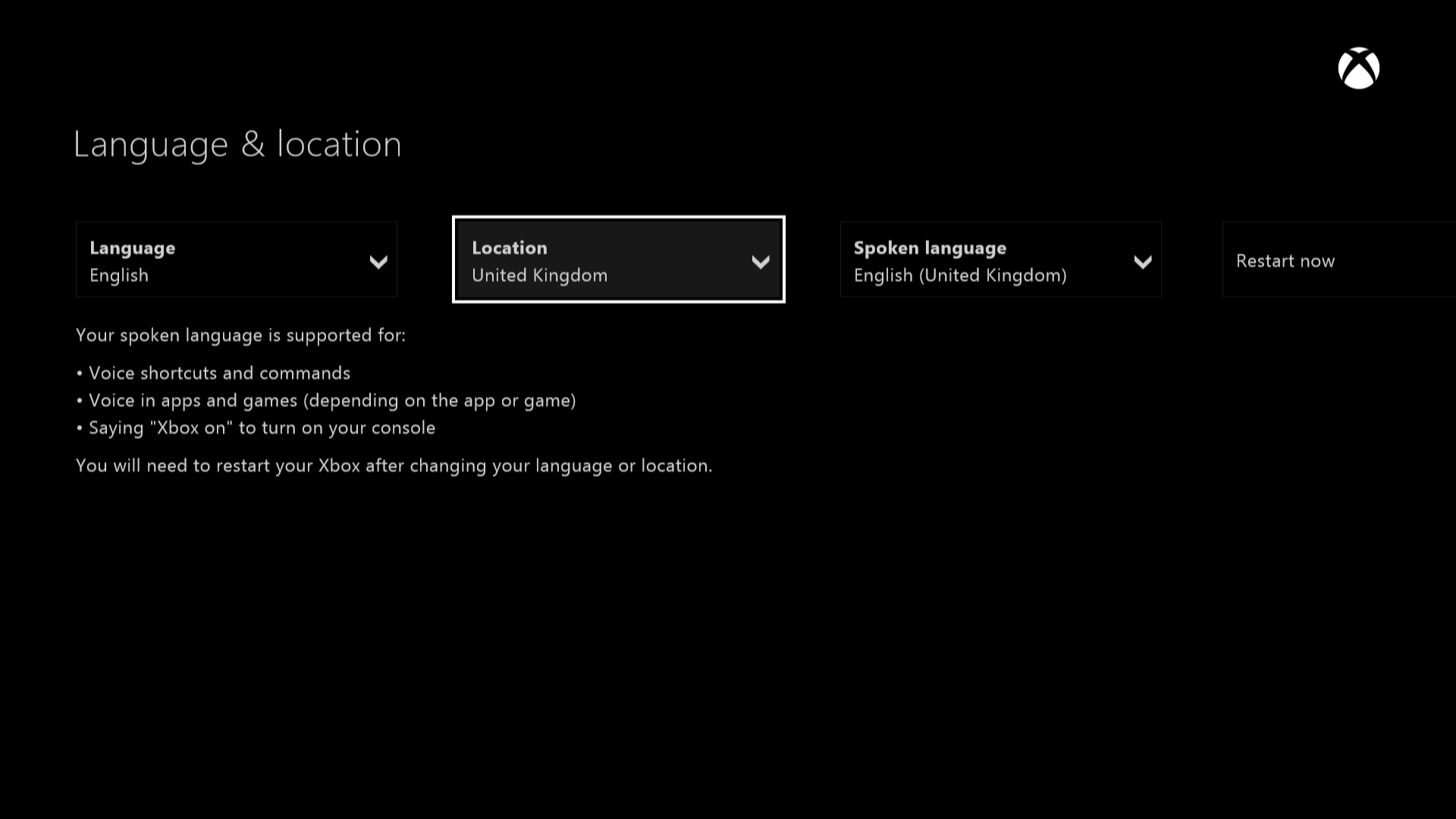 Xbox One Location screen
