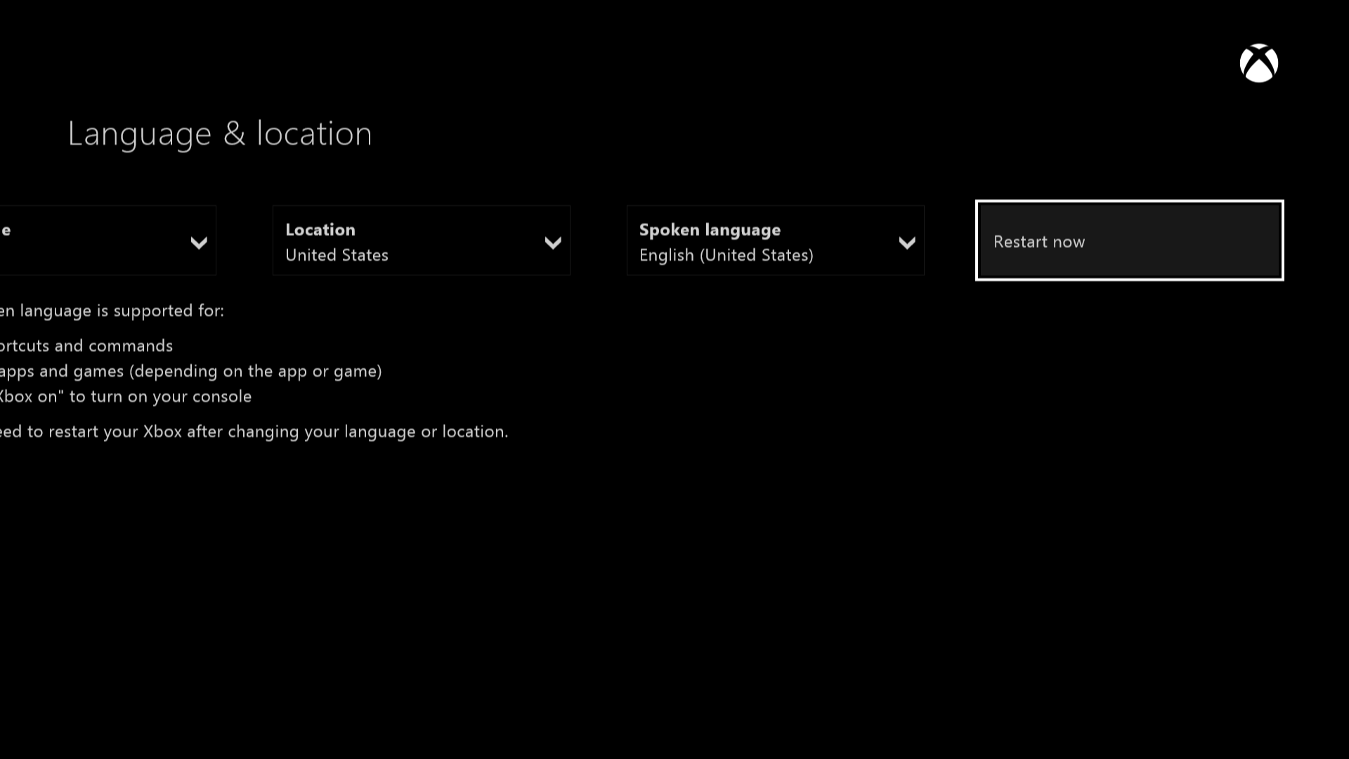 Xbox One restart screen