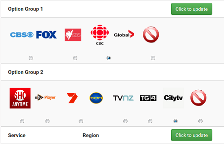 Simpletelly Region Selector set to Canada channels