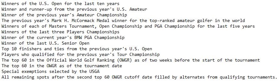 Golf qualification