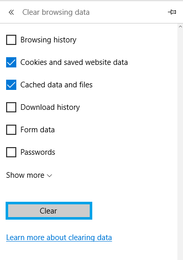 Clearing the cache from Microsoft Edge