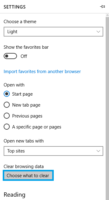 Entering the submenu to clear the Microsoft Edge's browser cache