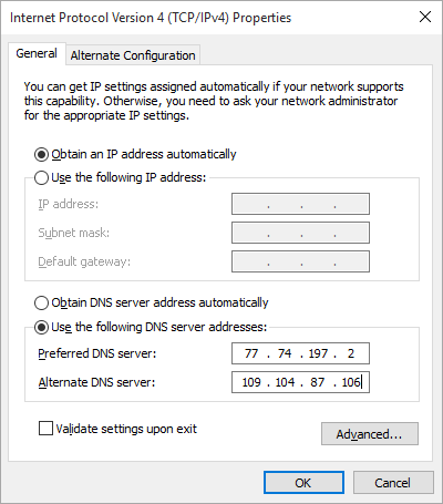 windows 10 set DNS on adapter