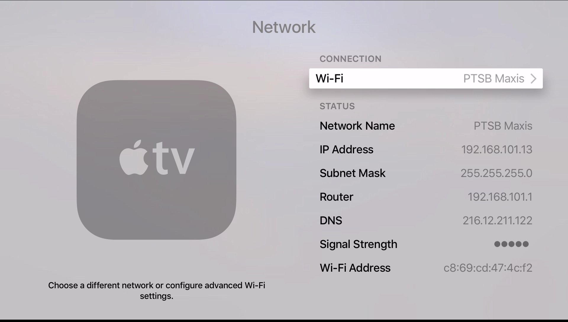 apple tv  apple tv 4 enter wifi or ethernet settings