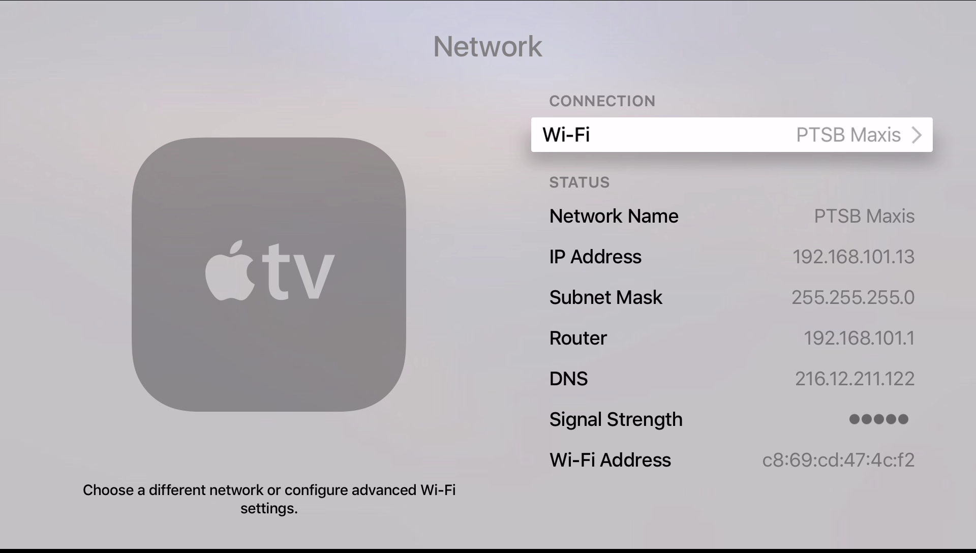 Apple TV 4 enter wifi or ethernet settings