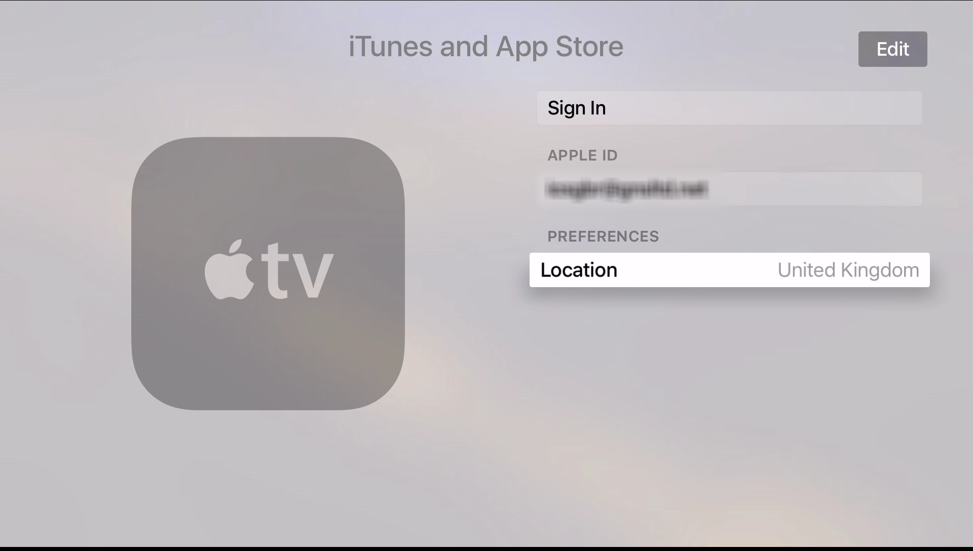 Apple TV 4 Sign In Account page