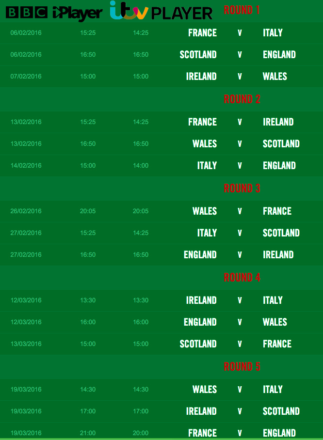 six nations schedule